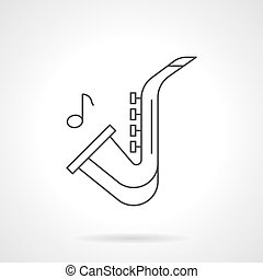 Jazz music flat line vector icon - Symbol of saxophone and...