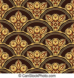 Gold and browne seamless pattern with shiny gradient...