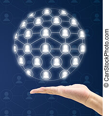 modern social network on hand a virtual background