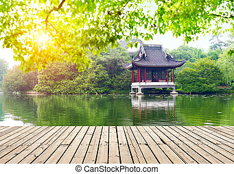 Pavilions Hangzhou, China - Hangzhou west lake side of the...