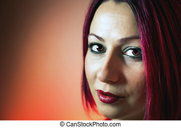 Beautiful red head woman - beautiful red head and red eyed...