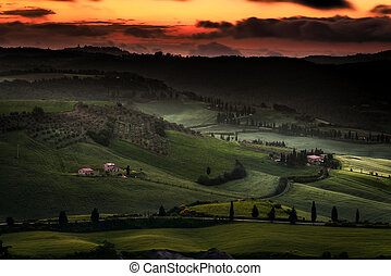 Sunrise over Val d'Orcia Tuscany