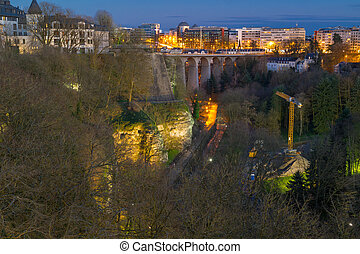 Panoramic view on Luxembourg viaduct or old bridge, Petrusse valley and the city centre of Luxembourg