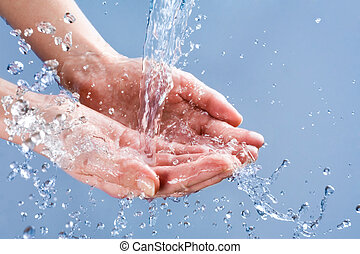 Splashing water - Photo of clean human hands with water...