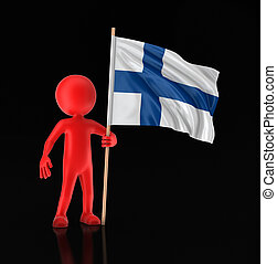 Man and Finnish flag. Image with clipping path