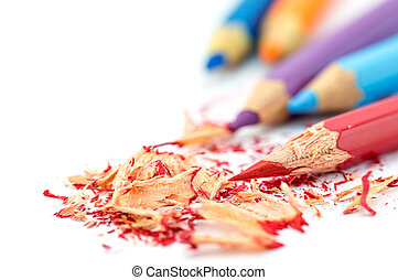 Crayons. Colored Pencils. Colored pencils on white...