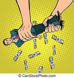 Female hands squeeze men money, pop art retro vector...