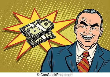 Boss businessman laughs, have a lot of money, pop art retro...
