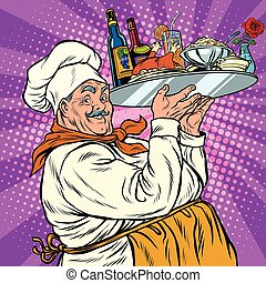 Retro chef with dinner on a tray, pop art vector...