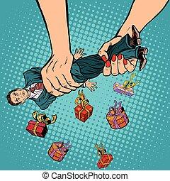 Female hands squeeze men gifts, pop art retro vector...