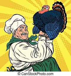 Retro chef with a live Turkey, thanksgiving, pop art vector...