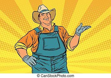 The American farmer in a cowboy hat