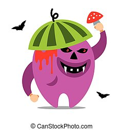 Halloween Monster. Vector Cartoon Illustration. - Creature...