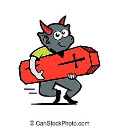 Vector Imp with coffin Cartoon Illustration. - Demon with...