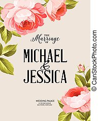 The marriage sign label. - Marriage invitation card with...