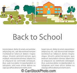 Back to school concept. Flat style vector isolated...