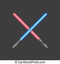 Two light swords - Vector modern light swords on dark...