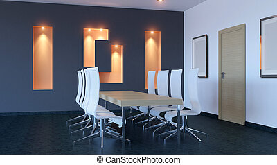 Interior of the modern office in the highlands 3d rendering...