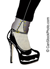 A woman with sensual shoe and fishnet stockings -...