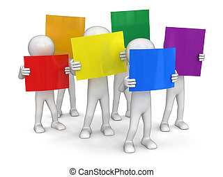 People with color sheets. Image with clipping path