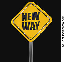 New Way road sign. Image with clipping path