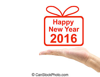 hand offering a gift, congratulation with happy new year...