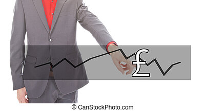 Young businessman with British pound currency