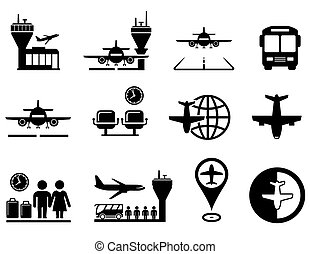 airport with plane icons set - set of black airport with...