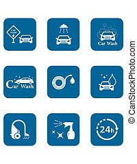 car wash blue icon set - set of blue isolated car wash icon