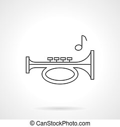 Trumpet pipe flat line vector icon - Trumpet pipe and single...