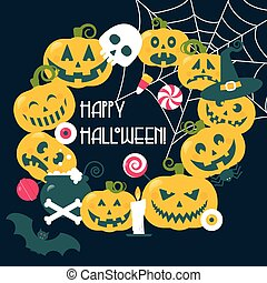 Halloween frame, wreath of pumpkin faces with lollipops,...