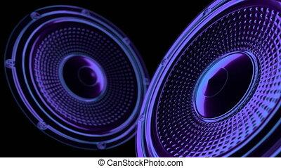 vj musical seamless loop - neon speakers. 3D render - vj...