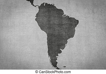 south america map on vintage background with grungy texture...
