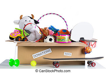 Toybox to donate - Box of assorted toys to donate with white...