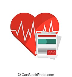 heart cardiogram and medical history icon - flat design...