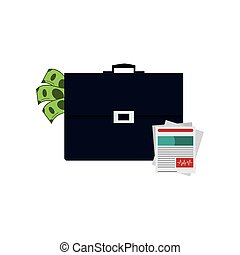 briefcase and medical history icon - flat design briefcase...