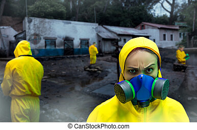 Woman in protective suit - Close up of woman in protective...