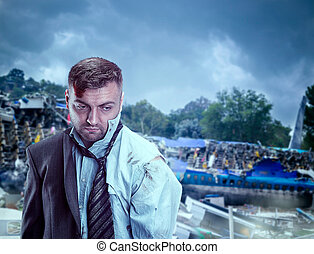 Man after wreckage - Close up of businessman after wreckage...