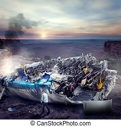 Man after wreckage standing on the plane ruins near the...