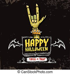 Happy halloween vector card with zombie hand. - Happy...