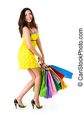Glamorous shopper - Portrait of glamorous coquette in...