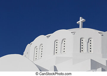 Cathedral in Fira - dome of Orthodox Metropolitan Cathedral...