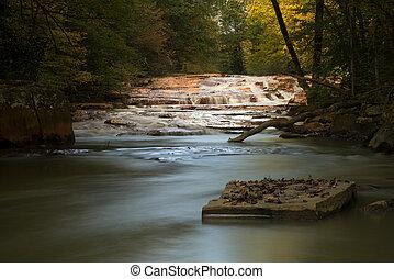 Waterfall on Muddy Creek near Albright WV - Wide waterfall...