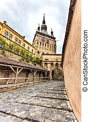 Sighisoara Clock Tower - Paved Street leading to the Clock...