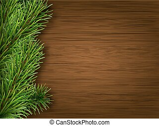 pine branch on old brown wooden background - Pine branch on...