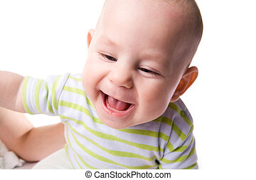 Happy mood - Photo of happy baby laughing over white...