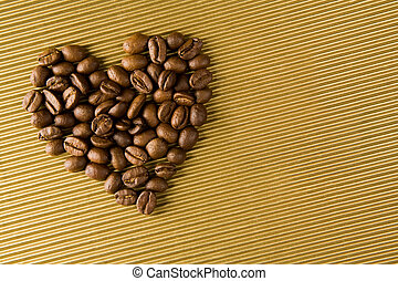 Coffee heart - Image of coffee grains forming shape of heart...