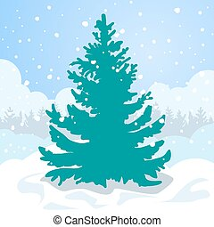 Green fir tree in the white snow drift. - Christmas card....