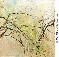 Springtime - Illustration of several tree branches with...