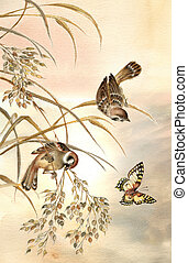 Sunrise - Painting of two sparrows sitting on stems and...